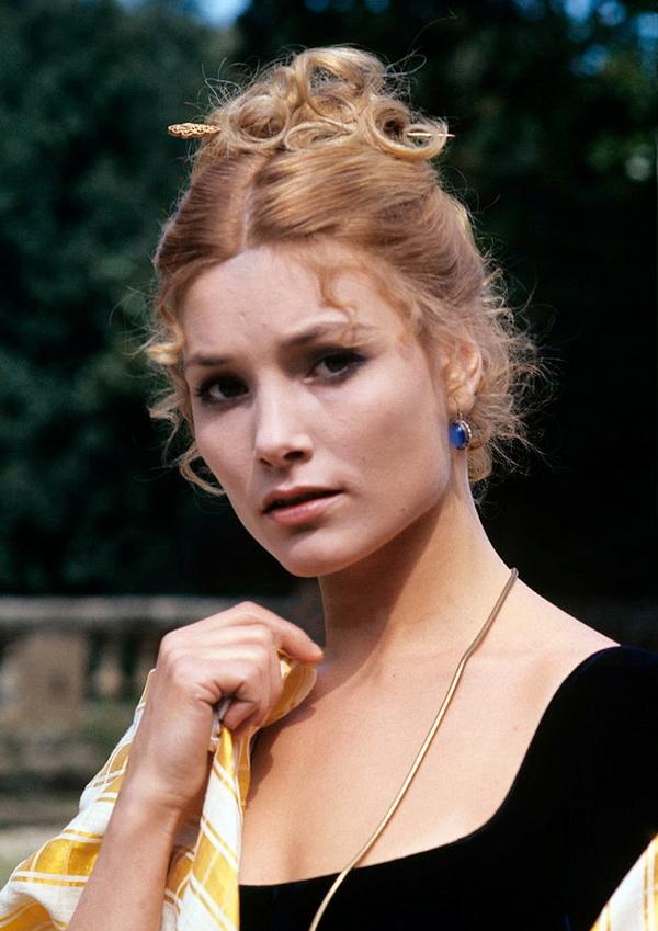 Swedish actress Janet Agren wearing the stage costume used in the TV series L'amaro caso della baronessa di Carini. Italy, 1975